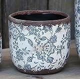 Bluebell Yard Blumentopf, klassisch, rund, Keramik, glasiert, Blau/Weiß