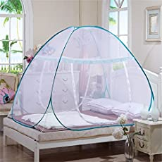 HOME CUBE Mesh Pop Up Dome Tent Design Bottomed Double Open Foldable Mosquito Net (Multicolour) - Pack of 1