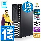 PC Dell 390 DT Core I3-2120 RAM 4GB Scheibe 250 Gb Wifi W7