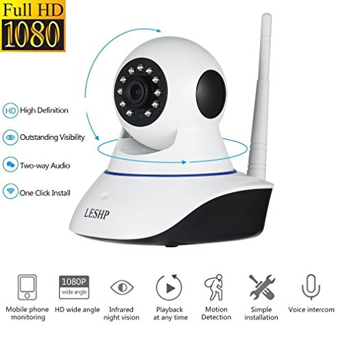Wireless IP Kamera,LESHP 1080P HD WiFi Überwachungskamera,mit 355°/120°Schwenkbar,Bewegungserkennung, Zwei-Wege-Audio, Nachtsicht, unterstützt Fernalarm und Mobile App Kontrolle (120 Audio)