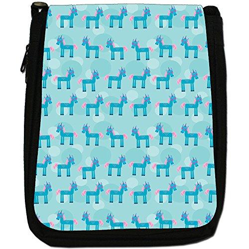 Tenero animale Unicorno Pattern Medio Borsa A Tracolla Tela Nera, misura media Pink Hair Blue Horn Unicorns