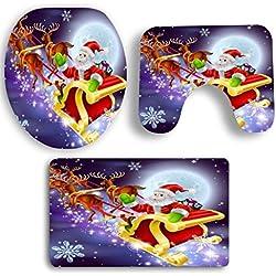 Badematten Set Clode® 3 STÜCKE Weihnachten Badematte Set Badezimmer Rutschfeste Sockel Teppich Toiletten Weihnachten Dekoration (E)