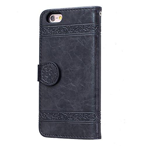 Voguecase Pour Apple iPhone 6/6s 4,7 Coque, Étui en cuir synthétique chic avec fonction support pratique pour iPhone 6/6s 4,7 (Modèle en cire d'huile-Jaune)de Gratuit stylet l'écran aléatoire universe Modèle en cire d'huile-Noir