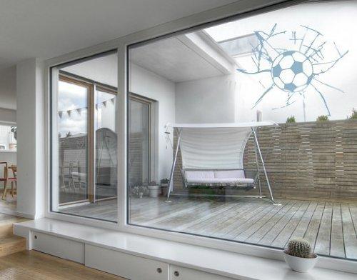 Fenstertattoo Fußball ( Größe: 30cm x 27cm - Farbe: glacier ) Motiv-Nr: G 14