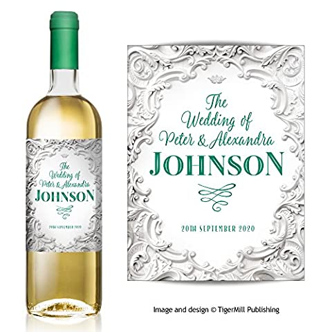 PERSONALISED white baroque style shabby chic wine bottle label – Wedding, Engagement, Anniversary, Hen night, Congratulations, any occasion gift (White / Green
