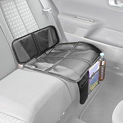 Lescars Sitzschutz: 2er-Set Kindersitz-Unterlage Basic, 3 Netztaschen, Isofix-geeignet (Auto-Schutzunterlagen)