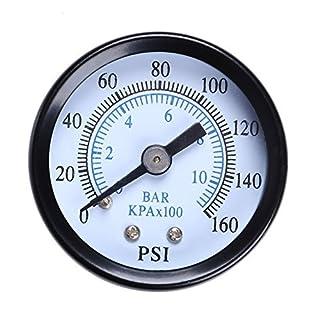 Awakingdemi Awakingdemi Water Pressure Gauge, Metal 1/8 inch 160 Psi 10Bar Compressor Compressed Air Pressure Gauge