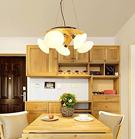 MK-Nordic simple solid wood chandelier new Chinese style living room bedroom chandelier creative pastoral