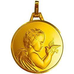 1000 médailles de baptême Médaille Ange à l'oiseau (plaqué Or)