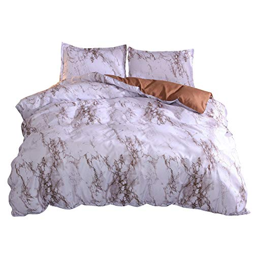 GODGETS Bettwäsche Bettbezug mit Marmor Muster, Super Weiche Atmungsaktive Mikrofaser Bettwäscheset mit Kissenbezug Bettwäsche Set mit Reißverschluss,Kaffee,[220 * 240] cm 3 Pics