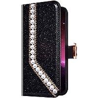 Uposao Samsung Galaxy S10 Plus Funda Libro con Tapa de Cuero, Purpurina Funda Diamante Glitter Brillante Perlas Corazón Patrón Carcasa Billetera Tarjetero,Cierre Magnético,Soporte Flip Case,Negro
