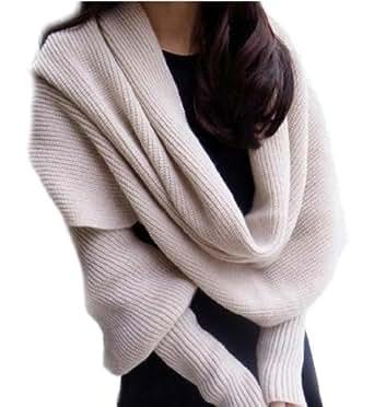 Y-BOA – Echarpe Châle Pashmina Pull à Manches Longues - Beige– Femme/Homme – Crochet Coton–265*43CM- Automne/Hiver