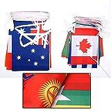 Wanjis - Bandera de Cuerda (20 x 28 cm, 32 países de Todo el Mundo, Bandera pequeña, Barra de la Copa Europea, Juegos olímpicos Colgando Banderas en Estilo Fino), n/a, 14 * 21cm, 1