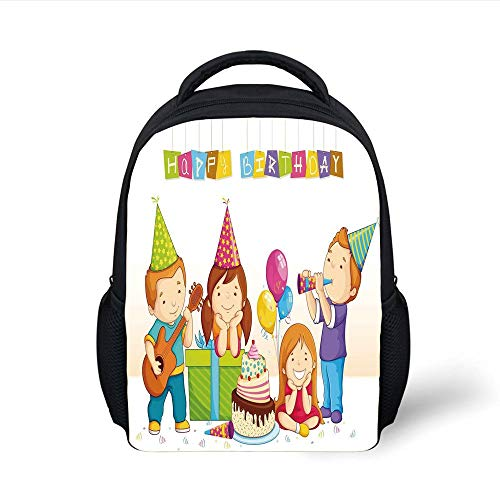 Kids School Backpack Birthday Decorations for Kids,Colorful Kindergarten Party Cone Hats Cake Boxes Music Print,Multicolor Plain Bookbag Travel Daypack Plain Cake Box