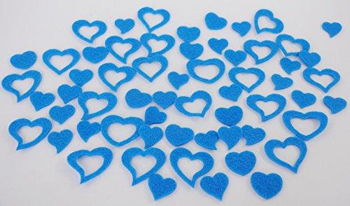 Herz, Herzen aus FILZ. Streudeko. 5 Gramm ca 50 Teile. Ca 2-3cm. In BLAU bl -