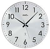 AMS Funk-Wanduhr, Holz, Silber, 37 x 37 x 6 cm