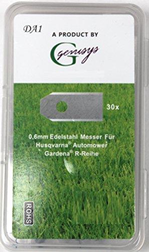 30x Ersatz Messer Klingen für Husqvarna Automower / Gardena Mähroboter (0,60 mm) + 30x ELOXIERTE Schrauben in der NEUEN wiederverschließbaren Hard-Box