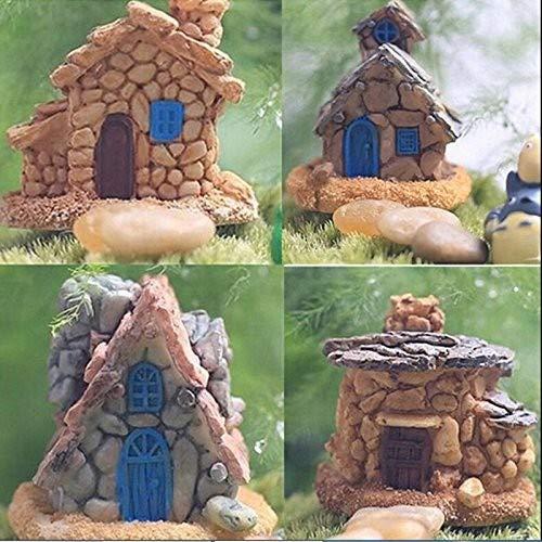miaoss Miniatur Fairy Garden Steinhaus Statue Home Decoration Außendekoration Handwerk - Holz-entertainment-schrank