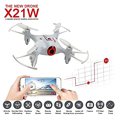 Syma X21W 720P Wifi FPV Mini Drone Quadcopter with HD Live Video Pocket Mini Drone RC Quapcopter with Transmitter by TIME4DEALS