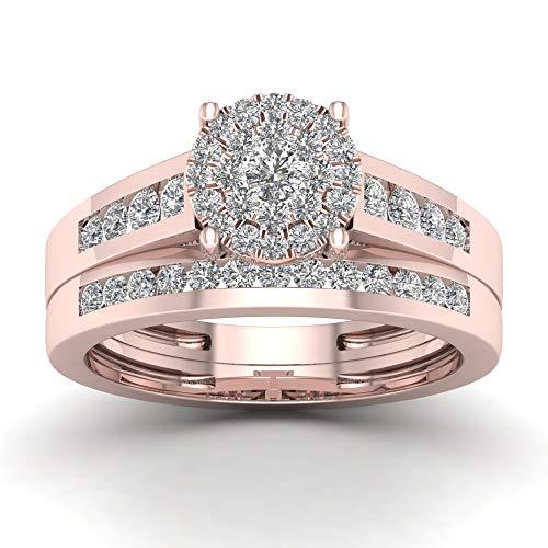 Fede nuziale in oro 10 carati con diamanti 0,75 ctw (i2-clarity-h-i-color) e oro rosa da 10 ct, 18,5, cod. hr-rb5145-8.5-r