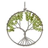 Baum des Lebens Edelstein Anhänger Halsketten Pendant für Halskette Geschenk - Olivin , 95