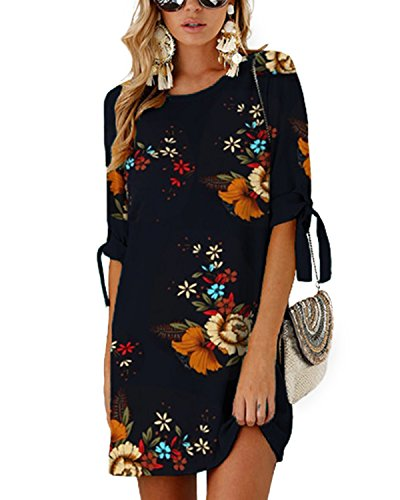 YOINS Sommerkleid Damen Kurz Tshirt Kleid Rundhals Kurzarm Minikleid Kleider Langes Shirt Lose Tunika mit Bowknot Ärmeln blau-01 EU46(Kleiner als Reguläre Größe)