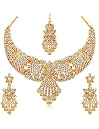 Apara Bridal Gold Plated Necklace Set With Maang Tikka Austrian Diamond For Women