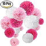 15er Set Pompoms Deko Bunt Seidenpapier Pompons für Hochzeit, Geburtstag, Party Rot Rosa Weiß (3pcs*30.5cm/6pcs*25cm/6pcs*15.5cm)