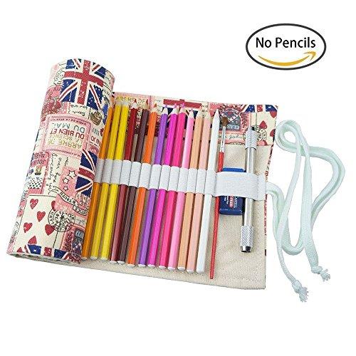 Très Chic Mailanda 48-colore di tela matita tessuto a mano cancelleria Pencils Case roll up(No matite