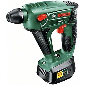 Bosch DIY Akku-Bohrhammer Uneo Maxx, Akku, Ladegerät, 2 Bohrer, 4 Bits, Koffer (18 V, 2,0 Ah, max. Bohr-Ø Stahl: 8 mm, Beton: 10 mm, Holz: 10 mm)