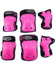 Selighting Ginocchiere, Ginocchiere Bambini Bambini Kit Protezione Set di Ginocchiere SKL, gomitiere, polsiere per Ragazzi & Ragazze per Pattini in Linea, Skate, Sport, 6PCS (XS, Pink)