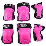 Selighting Ginocchiere, Ginocchiere Bambini Bambini Kit Protezione Set di ginocchiere SKL, gomitiere, polsiere per ragazzi & ragazze per pattini in linea, skate, sport, 6PCS (S, Pink)