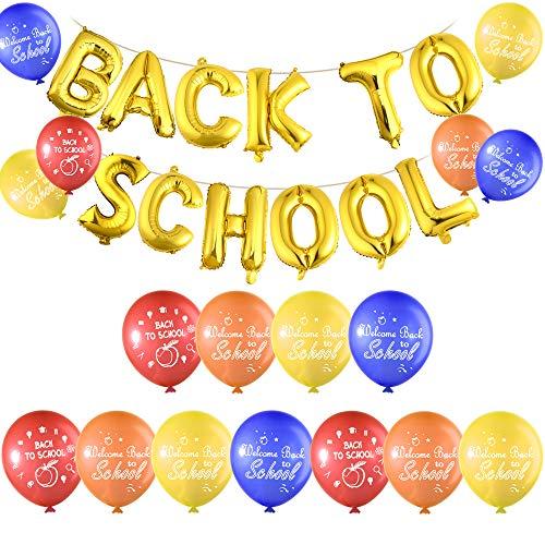 FEPITO Zurück zu Schule Ballon Banner mit 40 Stück Willkommen zurück zu Schule Latex Ballons für den ersten Tag der Schuldekorationen, Klassenzimmer Party Supplies