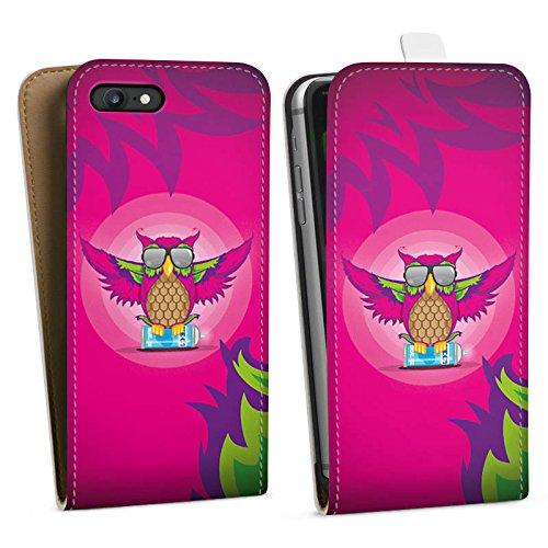 Apple iPhone X Silikon Hülle Case Schutzhülle Eule Pink Sonnenbrille Downflip Tasche weiß