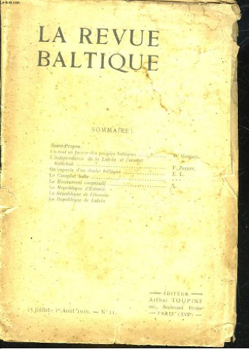 LA REVUE BALTIQUE N11