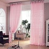 Enfant Fille Chambre Deco Rideau Rose Voilage Fenetre 200cm x 100cm (Rose)