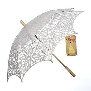Artwedding parasol battenburg de mariage de dentelle, beige