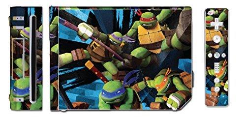Turtles TMNT Leonardo Mike Raph Donatello Splinter Shredder Video Game Vinyl Decal Skin Sticker Cover for the Nintendo Wii System Console by Vinyl Skin Designs ()