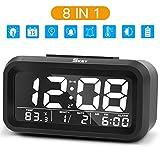 Wecker Digital, SKEY Wecker, Digitaluhr, alarm clock, Schwarzer Glasschirm mit großen Ziffern, Nacht sichtbar,Temperaturanzeige(Einbeziehen 3 Batterie)