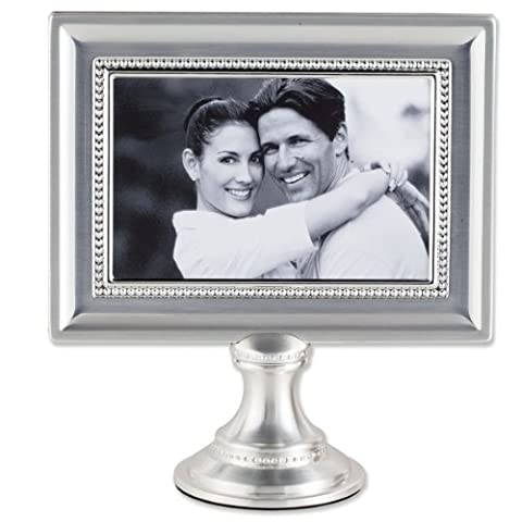 Lawrence Frames 4 by 6-Inch Brushed Silver Plated Metal Pedestal Picture Frame with Bead Design by Lawrence Frames