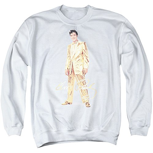 Elvis Presley - - Herren Gold Lame Anzug Sweater, XXX-Large, White