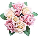 Pauwer Fleurs de Roses Artificielles 9 Têtes de Faux Bouquet de Roses en Soie Bouquet de Mariage Fête de Mariage Maison Jardin Bricolage Décoration ,Rose...