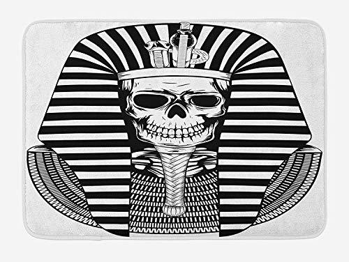 King Bath Mat, Egyptian Pharaoh Ruler Mummy Skull Skeleton Statue for Ancient Egypt Lovers Print, Plush Bathroom Decor Mat with Non Slip Backing, 23.6 W X 15.7 W Inches, Black and White