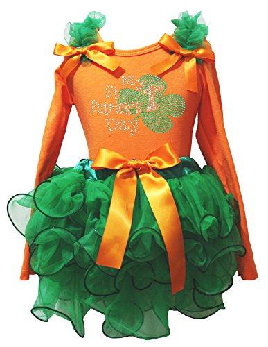 My 1st ST PATRICK Tag Kleid Orange Baumwolle L/S SHIRT Kelly Green Blütenblatt Rock–74bis 122 Gr. One size, (Kleider Tag Patrick St)