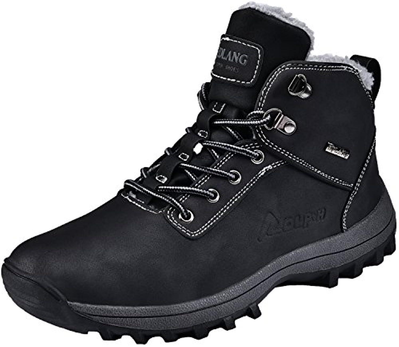 Rioneo Herren Wanderschuhe Wasserdicht Schneestiefel Outdoor Stiefel Trekking Hiking Fur Gefuumlttert Schuhe Schwarz