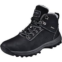 Rioneo Herren Wanderschuhe Wasserdicht Schneestiefel Outdoor Stiefel Trekking Hiking Fur Gefüttert Schuhe Schwarz Braun 39-46