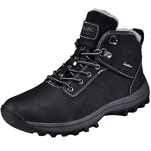 Rioneo Herren Wanderschuhe Wasserdicht Schneestiefel Outdoor Stiefel Trekking Hiking Fur Gefüttert Schuhe Schwarz - Boot-männer Wasserdichte