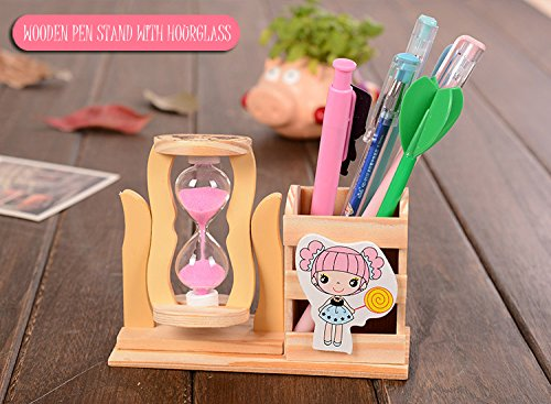1pc Creative   Wooden   Assorted   Cartoon   fashionable   children pen container/pencil holder/ pen stand with Hourglass Timer Clock Home Office Desk Decor Student Stationery Birthday Gift RANDOM COLOR
