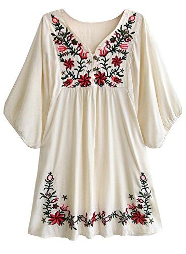 Doballa Damen Boho Tunika Hippie Kleid Gestickt Blumen Mexikanische Bluse (L, Blume Beige) -