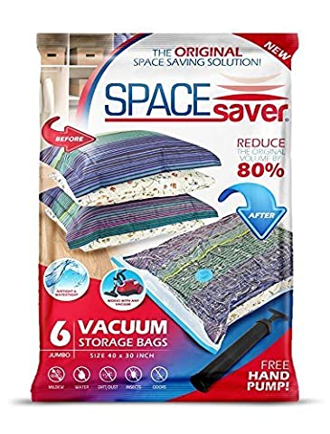 Space Saver Vacuum Storage Bags with Hand-Pump, Jumbo, 6-Pack